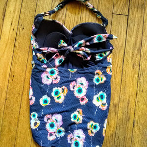 Seafolly Swim - Seafolly Blue Floral Ruched Halter One-Piece